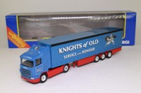 Corgi Classics TY86611; Scania R Cab, 1:64 Scale; Artic Curtainside Trailer, Knights of Old, Red/Blue