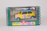 Corgi Classics 04421; BL/Rover Mini; 1997 Kenya Safari Rally; Robert Plant; RN53