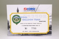 Corgi OOC 43502; Blackpool Balloon Tram; Blackpool Transport, Wartime Livery