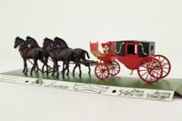Brumm 017; 19th Cent Horse-Drawn Landau; Red Carriage, Four Horses