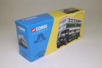 Corgi Classics 35201; Daimler CW Utility Bus; Green Line, Rte 721 Aldgate, Ilford, Stratford, Green & White