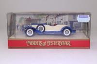 Models of Yesteryear Y-14/3; 1931 Stutz Bearcat; Blue, Cream Panels