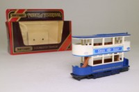 Models of Yesteryear Y-15/3; 1900 Preston Tramcar; Darlington Corporation, Swan Soap, Blue and white