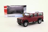 Cararama 02304; Land Rover Defender 110 Station Wagon; Maroon, White Roof