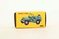 Dinky Toys 25J; Hotchkiss Willys Jeep; Peppermint Green, Red Hubs