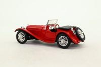 National Motor Museum Mint 39JGSS; 1939 Jaguar SS-100 Roadster; Open Top, Red, Opening Bonnet