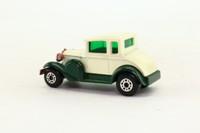 Matchbox/Lesney 73e; Ford Model A Coupe; Cream & Dk Green, Green Glass