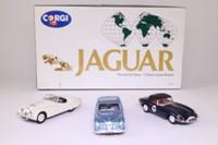 Corgi 97700; Jaguar Through The Years 3 Car Set; MkII in Met Blue, E Type in Dark Blue, XK120 in White