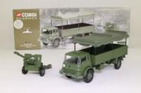 Corgi Classics 69902; Bedford MK, Military,  High Dropside; Canvas Back, 25lb Field Gun