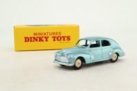 Atlas Dinky Toys 25R; Peugeot 203; Metallic Blue, Cream Hubs