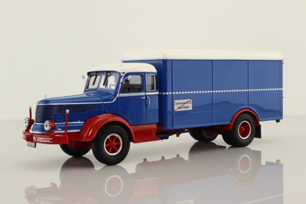 Minichamps 439 069040; Krupp Titan Truck; Box Van; Blue, Red Chassis