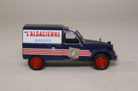 IXO Citroën 2CV Fourgonette; Blue with red and white tampos, 'L'Alsacienne' biscuits
