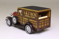 Models of Yesteryear Y-21/1; 1930 Ford Model A Woody Wagon; Orange bonnet, brown chassis, brown windscreen; A. and J. Box