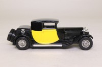 Models of Yesteryear Y-24/1; 1928 Bugatti T44; Black, Painted Yellow Panels, Tan Seats