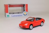 Cararama 25000; 1999 Porsche 911 Cabrio; Open Top, Red, Black Interior