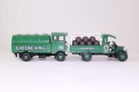 Corgi Classics D51/1; Greene King Brewery 2 Truck Set; AEC Cabover Tanker & Thornycroft Barrel Dray