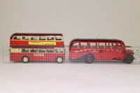 Corgi Classics D41/1; Barton Bros 1908-1989 2 Bus Set; Bedford OB Coach; AEC Regent Double Deck Bus