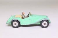 Dinky Toys 102; MG Midget, Touring Finish; Pale Green, Cream Seats, Spun Hubs, Grey Driver