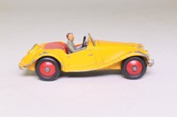 Dinky Toys 102; MG Midget, Touring Finish; Deep Yellow, Red Seats, Red Hubs, Grey Driver