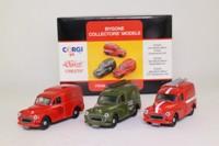 Corgi Classics 97541; Morris Minor Van; 3 Van Set, 1972 Postal Engineering Van, 1970 Royal Mail Van, 1963 Post Office Telephones Van