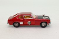 Dinky Toys 213; Ford Capri Rally; Red Metallic, Black Bonnet, Cast Hubs