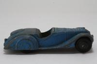 Dinky Toys 38a; Frazer-Nash BMW Sports Car; Blue, Grey Seats, Black Rigded Hubs, Open Steering Wheel, Black Base