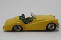Dinky Toys 105; Triumph TR2; Lemon, Green Seats, Spun Hubs, Grey Driver