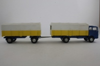 Dinky Toys 917; Mercedes-Benz LP1920 Truck & Trailer; Blue Chassis Cab, Yellow Back Body, White Tilt