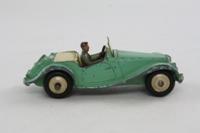 Dinky Toys 102; MG Midget, Touring Finish; Pale Green, Cream Seats, Cream Hubs, Grey Driver