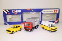Corgi Classics C62; Swiss Services 3 Pce Set; PTT: VW Polo & Mercedes Van, Mercedes Truck Cargo Domecile