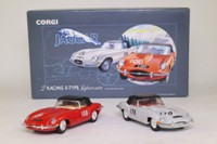 Corgi Classics 97701; The Racing E Types Gift Set; 2x Jaguar E Types: Ivory RN170 & Red RN108