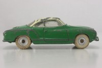 Dinky Toys 187; Volkswagen Karmann Ghia; Green With Cream Roof, Spun Hubs