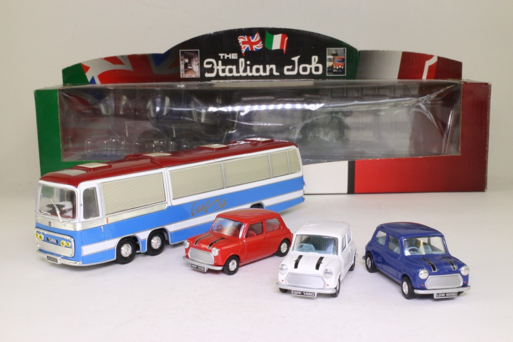 Corgi Classics 36502; The Italian Job Coach and Mini Set; Bedford VAL coach and 3x Mini Coopers