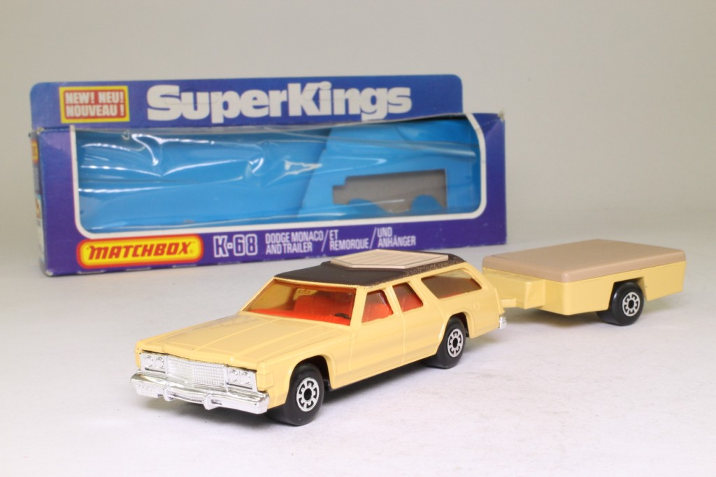 Matchbox King Size K-68/1; Dodge Monaco and Trailer; Tan with Black Roof 69767