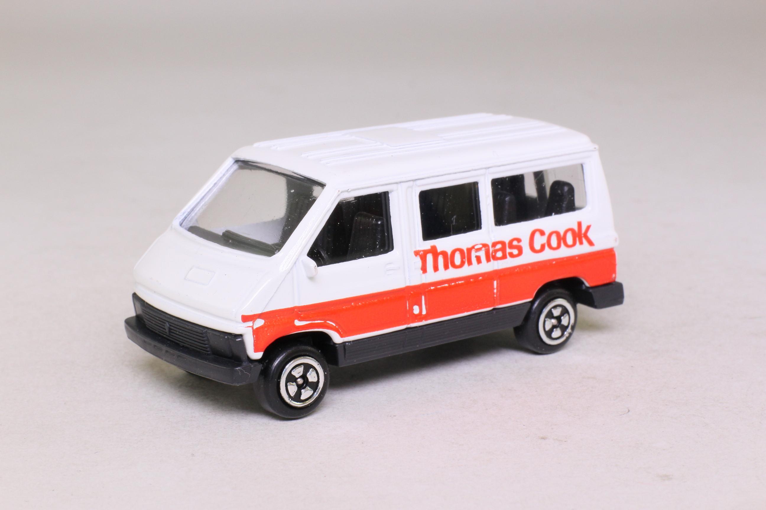 corgi juniors j44b renault trafic bus thomas cook blanc. Black Bedroom Furniture Sets. Home Design Ideas