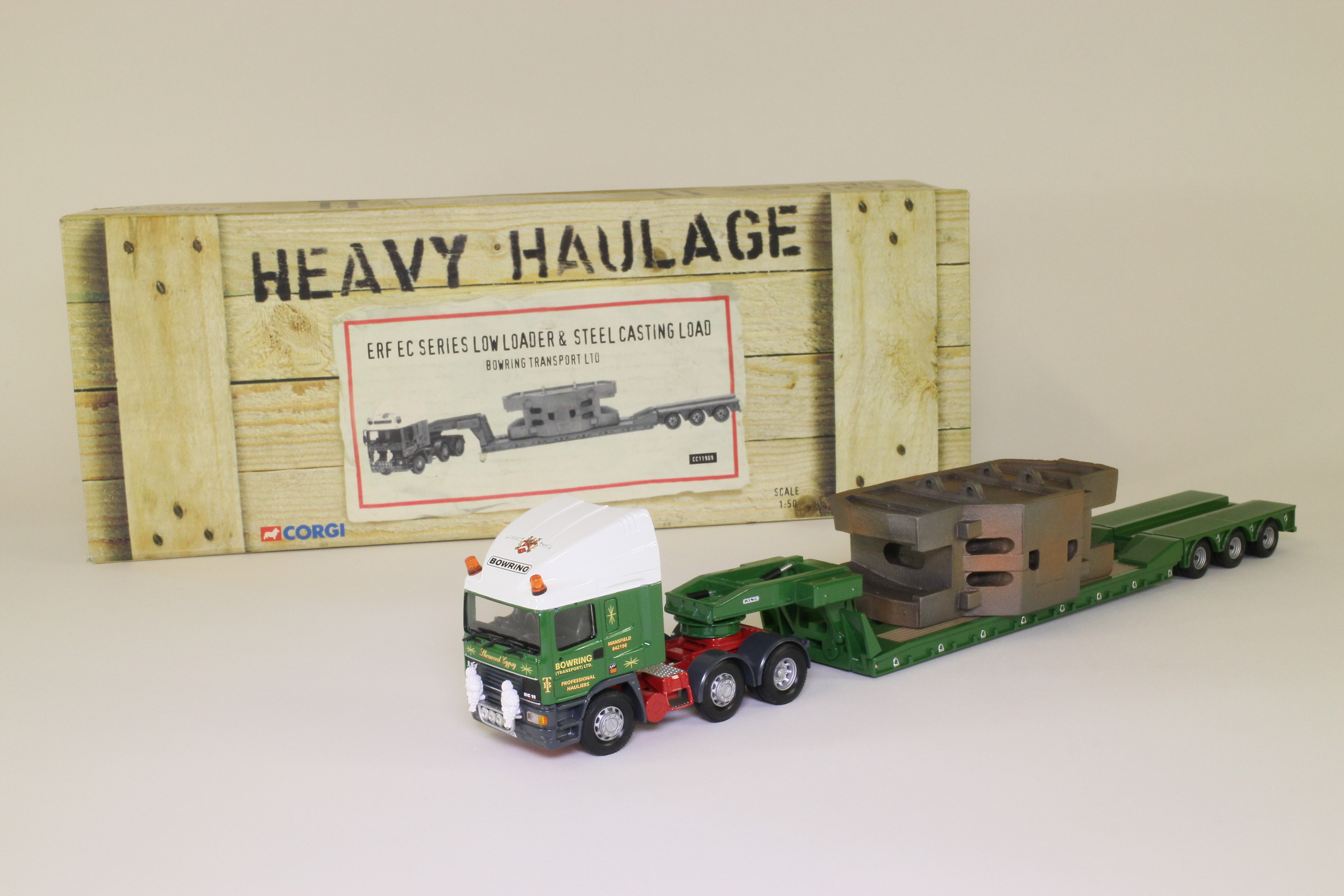 Corgi Classics CC11909; ERF EC Artic; Low Loader and Steel Casting: Bowring Transport Ltd