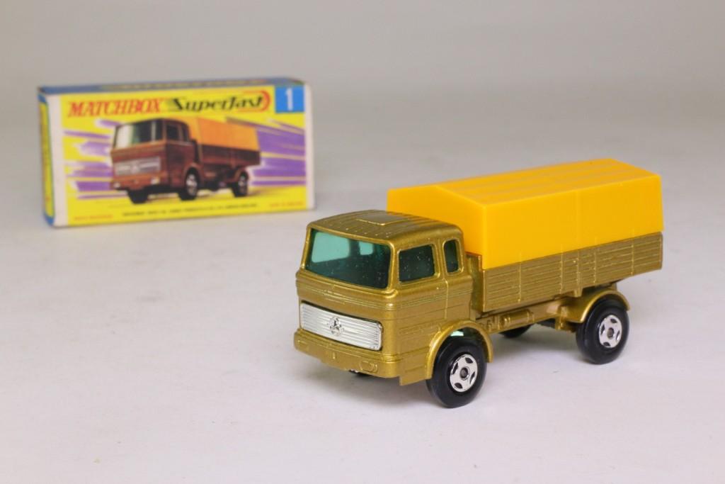 Truck Mercedes Benz >> Matchbox/Lesney 1e; Mercedes-Benz Covered Truck; Turquoise/Orange; Regular Wheels 81233