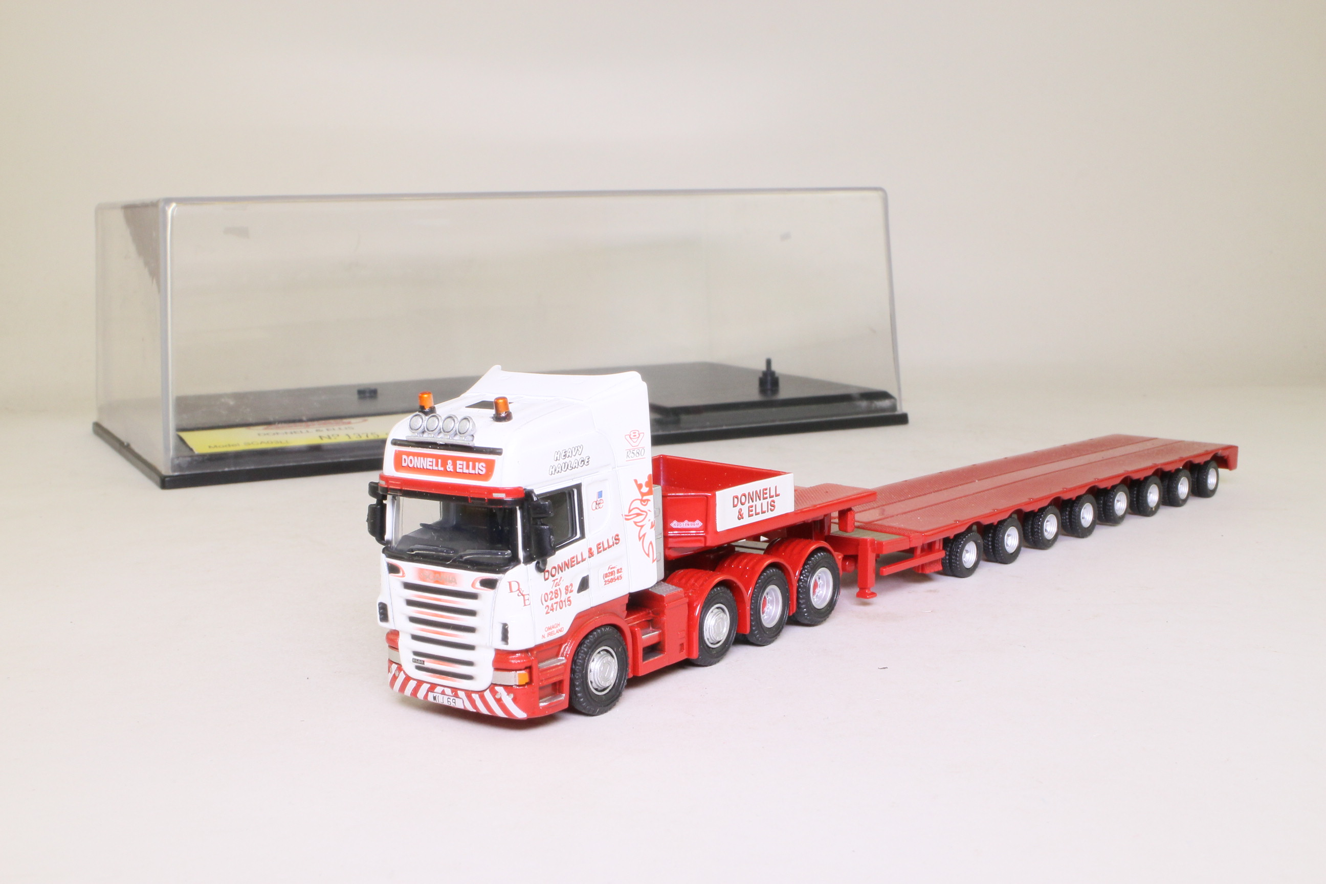 Oxford Diecast SCA03LL; Scania R Cab Artic; Low Loader, Donnell and Ellis